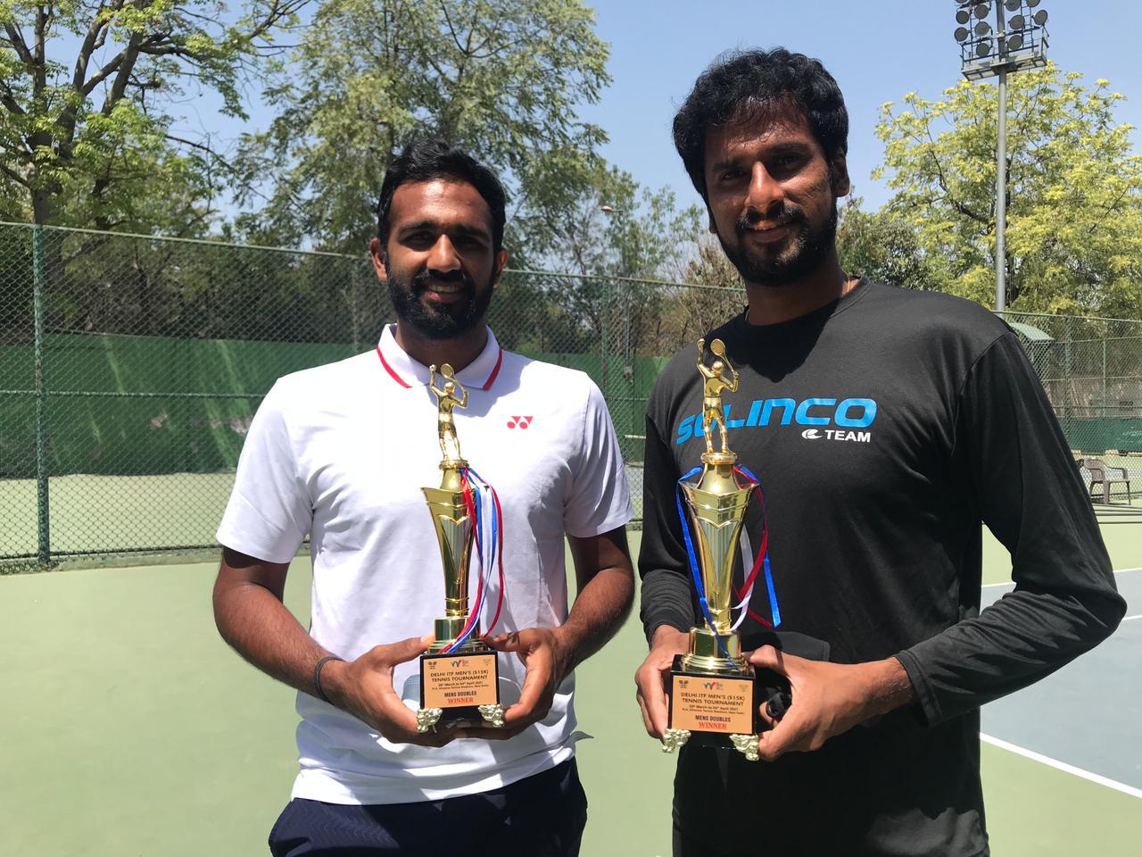 Saketh Myneni doubles title new delhi