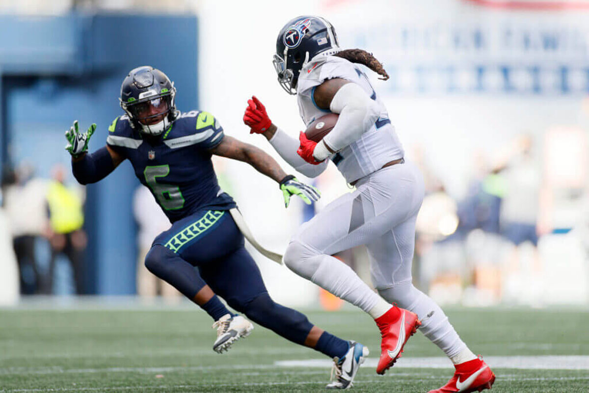 Derrick Henry vs Seattle Quandre Diggs photo credit Getty Images